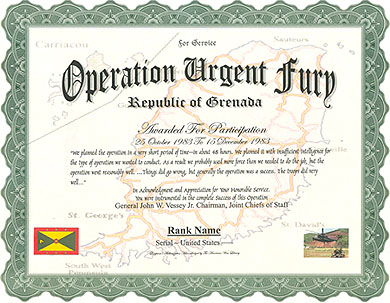Operation Urgent Fury Service Replacement Certificate